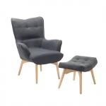 Fotel ciemnoszary + pufa - fotel tapicerowany - krzesło - VEJLE BLmeble