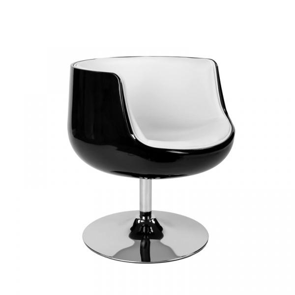 Fotel Cognac K-czarny, S-białe (L) DK-27281