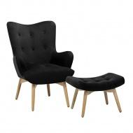 Fotel czarny z hokerem welur VEJLE