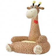 Fotel dla dzieci żyrafa, pluszowy, brązowy