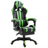 Fotel dla gracza z podnóżkiem, zielony, PU