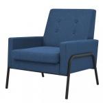 Fotel do salonu tapicerowany materiałem niebieski