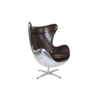 Fotel Jajo D2 aluminium PU brązowe