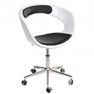 Fotel na kółkach D2 FLOP K- biały, S- czarny