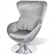 Fotel o owalnym kształcie, srebrny