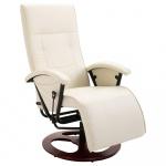 Fotel obrotowy kremowy sztuczna skóra