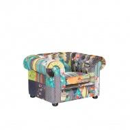 Fotel patchwork żółty - wypoczynkowy - do salonu - Vento