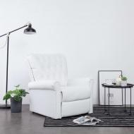 Fotel rozkładany, biały, sztuczna skóra