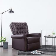Fotel rozkładany, brązowy, sztuczna skóra