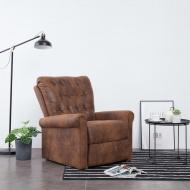 Fotel rozkładany, brązowy, sztuczna skóra zamszowa