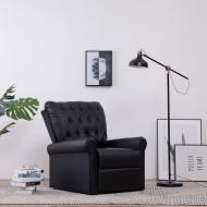 Fotel rozkładany, czarny, sztuczna skóra