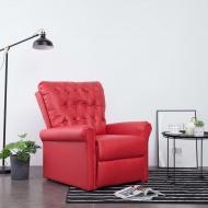 Fotel rozkładany, czerwony, sztuczna skóra