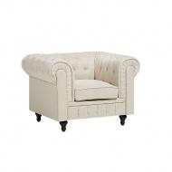 Fotel tapicerowany beżowy CHESTERFIELD