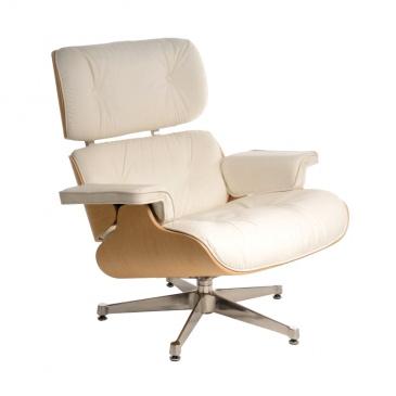 Fotel Vip biały/natural/srebrna baza