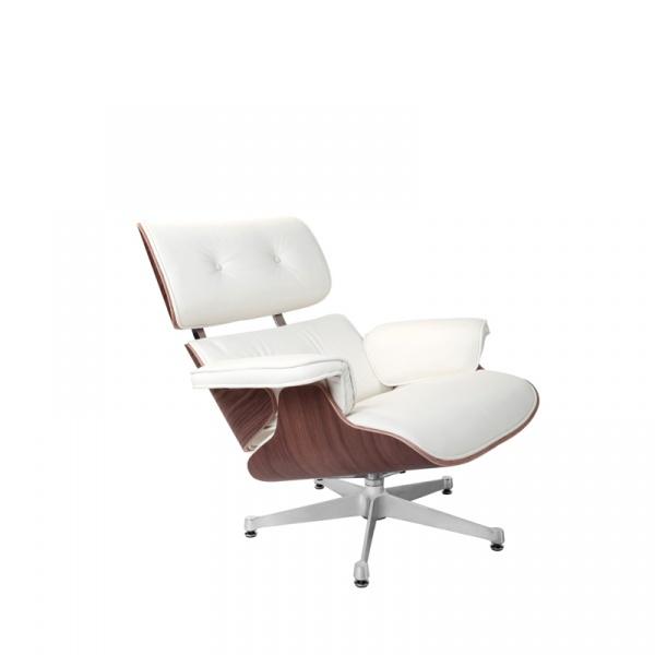 Fotel Vip biały/walnut/srebrna baza TP DK-25001