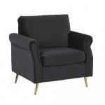 Fotel welurowy czarny VIETAS