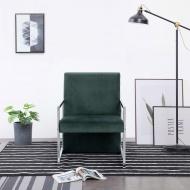 Fotel z chromowanym nóżkami, ciemnozielony, aksamit