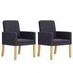 Fotele do salonu 2 szt. ciemnoszare materiałowe