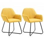 Fotele do salonu 2szt. żółte tapicerowane tkaniną