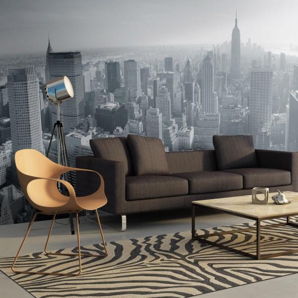 Fototapeta - Czarno-biała panorama Nowego Jorku (550x270 cm) A0-F5TNT0016-P