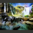 Fototapeta - Koń na tle błekitnego wodospadu A0-LFTNT0767