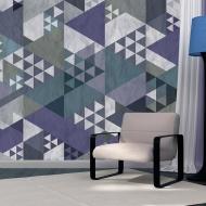 Fototapeta - Niebieski patchwork (50x1000 cm)