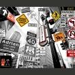Fototapeta - Nowojorskie znaki na czarno-białym tle A0-LFTNT0680