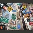 Fototapeta - Nowojorskie znaki na kolorowym tle A0-LFTNT0691