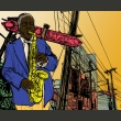 Fototapeta - Saxophonist in New York A0-LFTNT0671