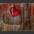 Fototapeta - Serce wyryte w drewnie A0-LFTNT0665