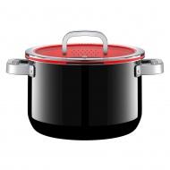 Garnek 6,4l z pokrywką WMF Fusiontec Functional czarno-czerwony