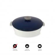 Garnek owalny 4,2 L porcelanowy Revol Revolution niebieski