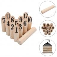 Gra plenerowa Kubb numeryczny, wykonana z drewna