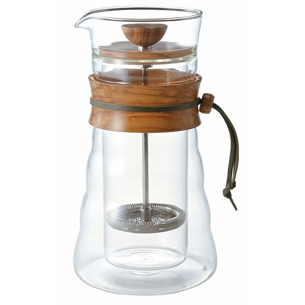 Hario Cafe Press Double Glass - Olive Wood - 600ml CD-DGC-40-OV