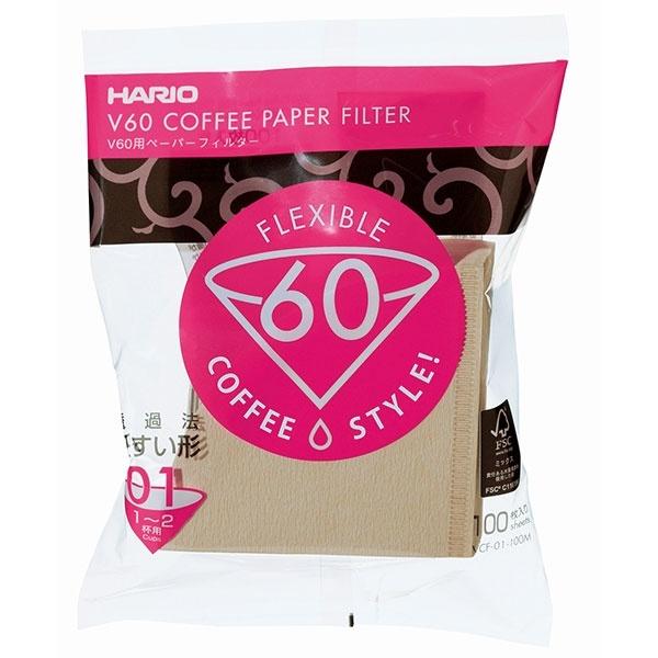 Hario filtry papierowe Misarashi brązowe - V60-01 - 100 Sztuk CD-VCF-01-100M