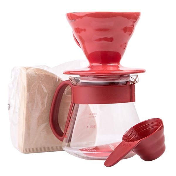Hario zestaw V60 Dripper & Pot Red - drip + server + filtry CD-VDS-3012R