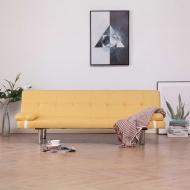 Kanapa rozkładana z dwiema poduszkami, żółta, poliester