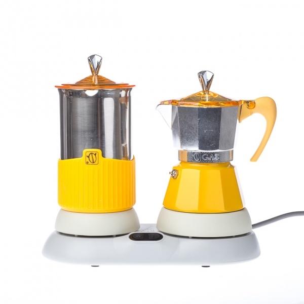 Kawiarka elektryczna ze spieniaczem G.A.T. Gatpuccino 4tz - Żółta CD-602004YE