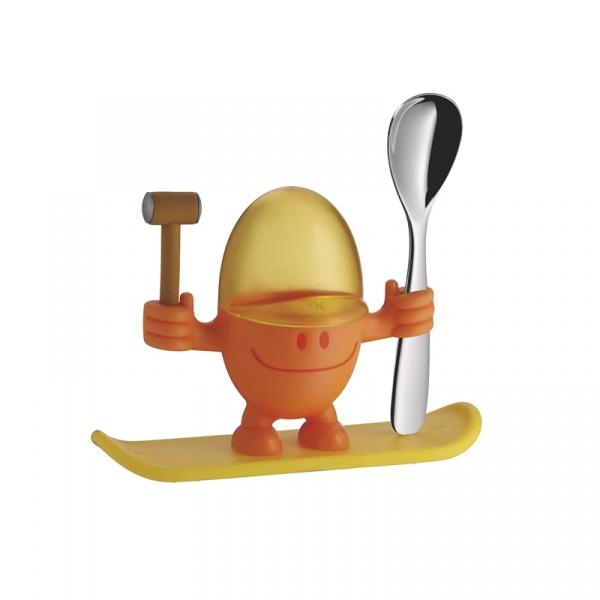 Kieliszek na jajko z łyżeczką WMF pomarańczowy 0616687450