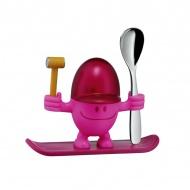 Kieliszek na jajko z łyżeczką WMF różowy