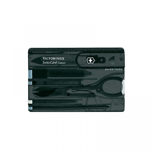 Kieszonkowy zestaw narzędzi Victorinox Swisscard Classic transparentny czarny 0.7133.T3