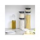 Komplet 3 szklanych hermetycznych pojemników kuchennych, pokrywa mix kolor - Brabantia