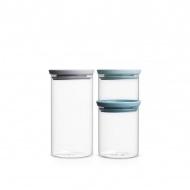 Komplet 3 szklanych hermetycznych pojemników kuchennych Brabantia przezroczysty