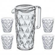 Komplet ogrodowy dzbanek 1,5l + 4 kubeczki do napojów Koziol Crystal
