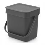Kosz kuchenny na odpadki 3l Sort & Go szary 209888