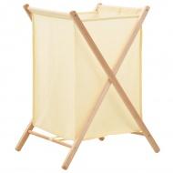Kosz na pranie, drewno cedrowe i tkanina, beżowy, 42x41x64 cm