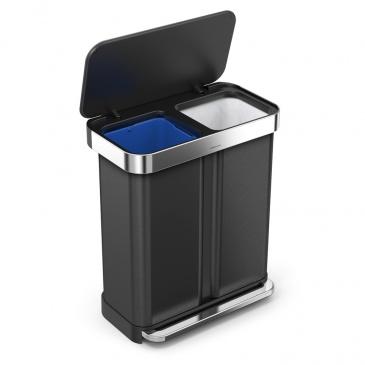 Kosz na śmieci pedałowy Liner Pocket Recycler 58L Simplehuman czarny
