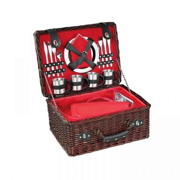 Kosz piknikowy z wyposażeniem Cilio Luino ciemny brąz CI-155884