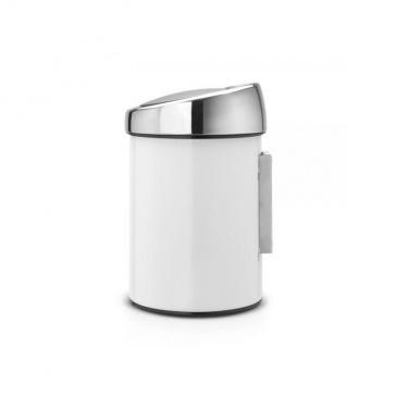 Kosz Touch Bin 3L biały, pokrywa stal polerowana - Brabantia