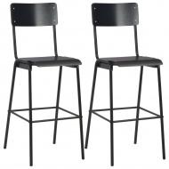 Krzesła barowe, 2 szt., czarne, sklejka i stal